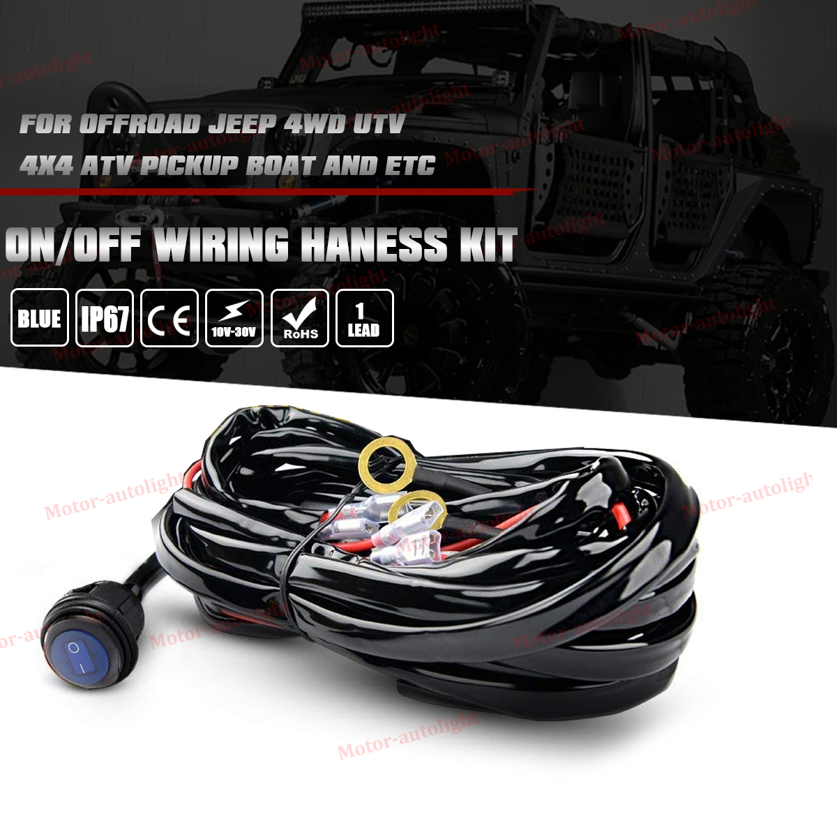 12v Toggle On Off Wiring Harness For Polaris Xp Rzr 1000 900 Ranger Exposed Light Bar