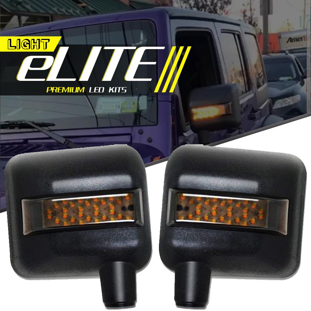 For Jeep Wrangler JK White DRL Amber Turn Signal LED Side Mirror Housing Cover