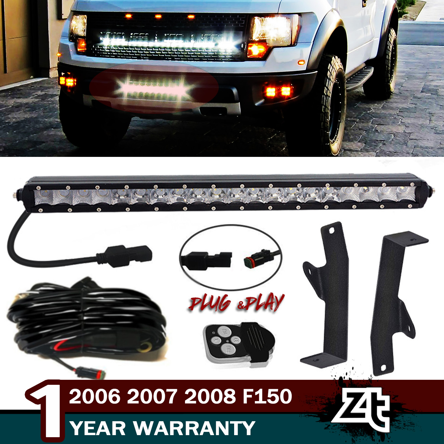 Details About 20 Led Light Bar Hidden Bumper Mount Bracket Wire Kit Fit 06 08 Ford F150
