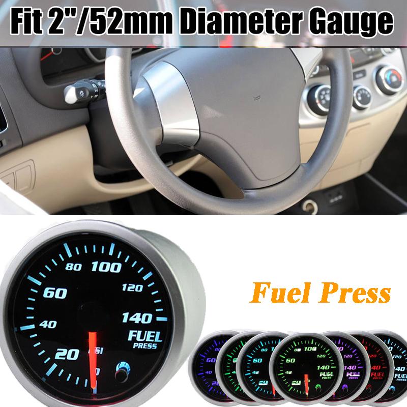 """2/"""" 52mm Electric Fuel Pressure Digital Gauge 0~140 PSI 7 color LED Display"""