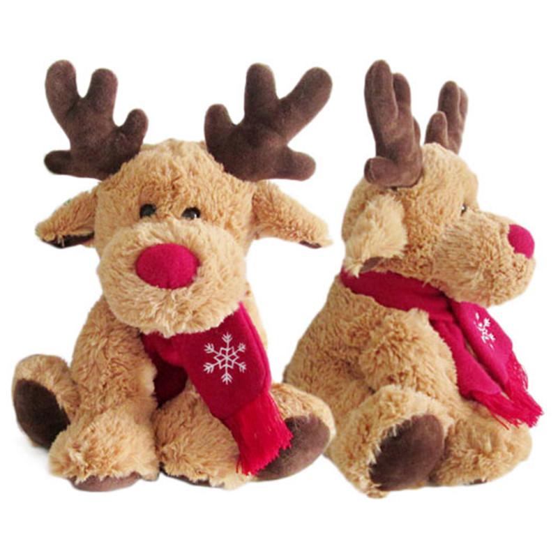 Kids Christmas Reindeer Scarf Elk Doll Plush Toys Home