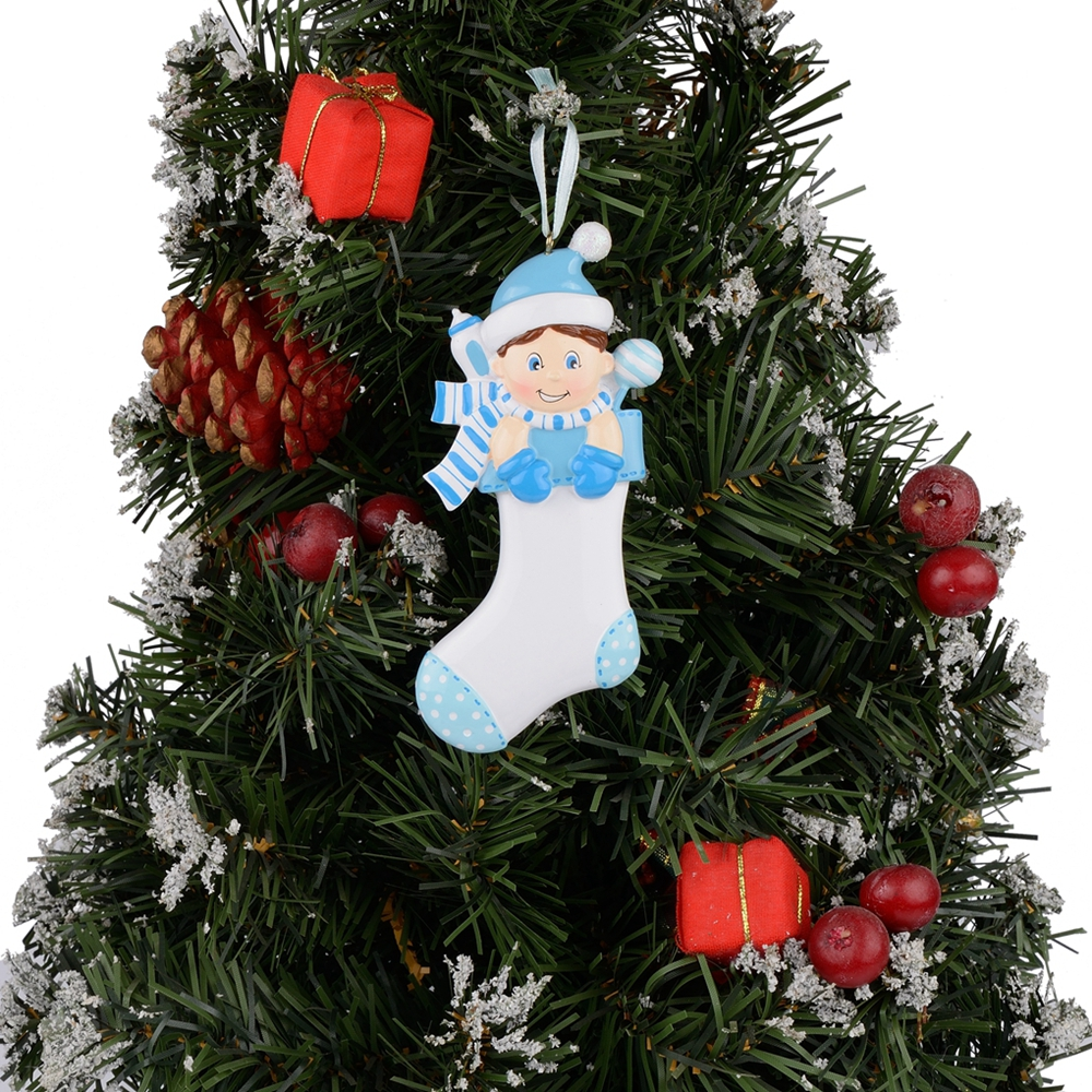 Personalized Baby/'s 1st Christmas Ornament Blue Boy in Stocking with Santa Hat