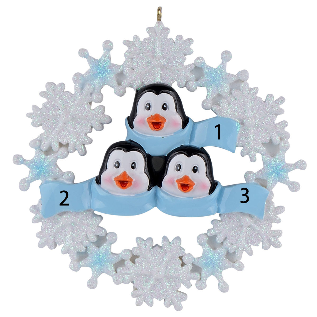 Personalized Penguin Family with Snowflake of 2 3 4 5 6 Christmas Ornament