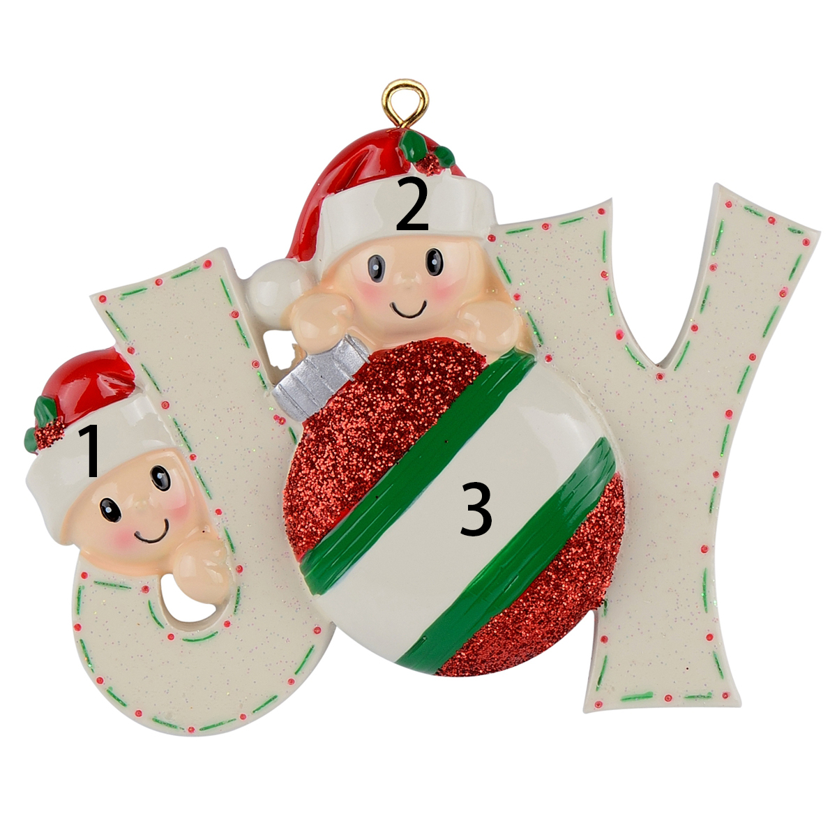 MAXORA Personalized Reindeer Family Sled of 2 3 4 5 Christmas Ornament