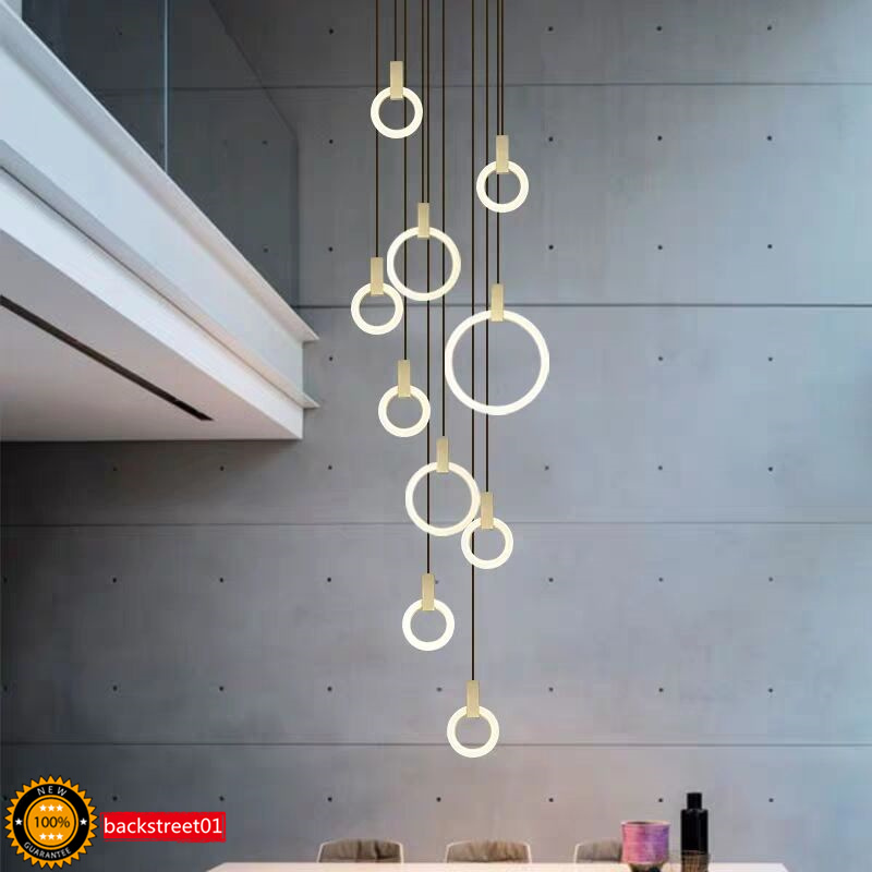 Details About Ring Led Chandelier Pendant Lamp Modern Stairwell Living Dining Lighting Fixture