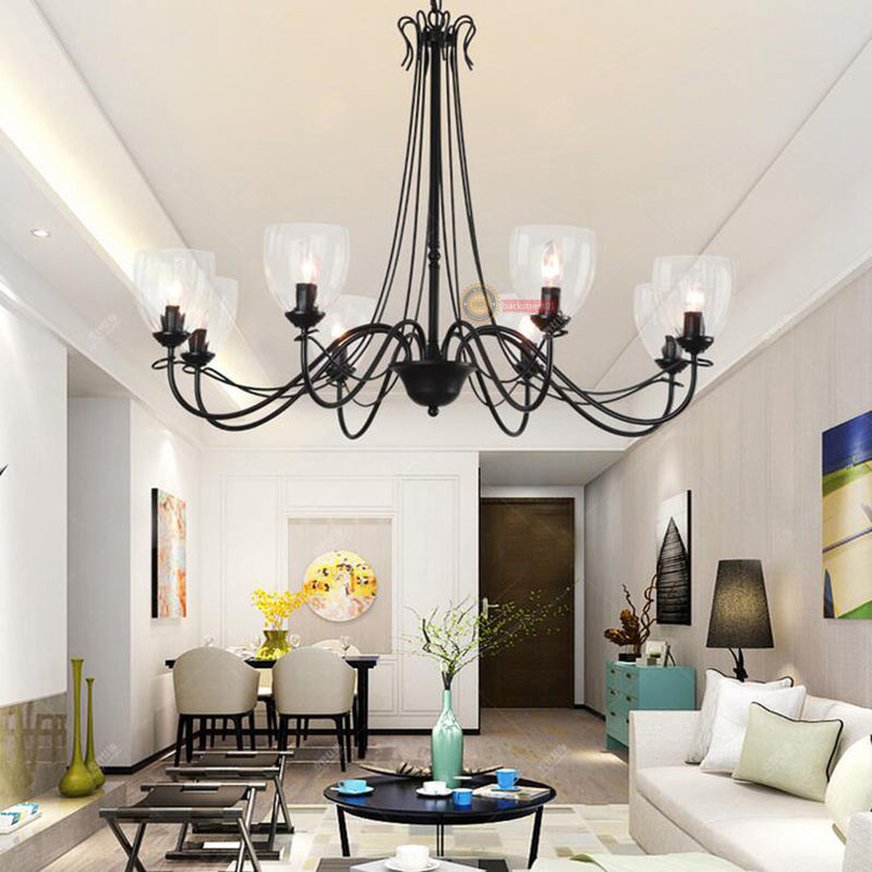 Nordic Iron Glass Loft Chandelier Ceiling Light Hotel Living Room Inspiration Living Room Pendant Light