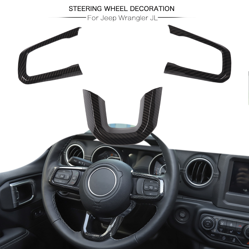 for 2018 for Jeep Wrangler JL New Carbon Fiber ABS Steering Wheel Trim Decor Cover