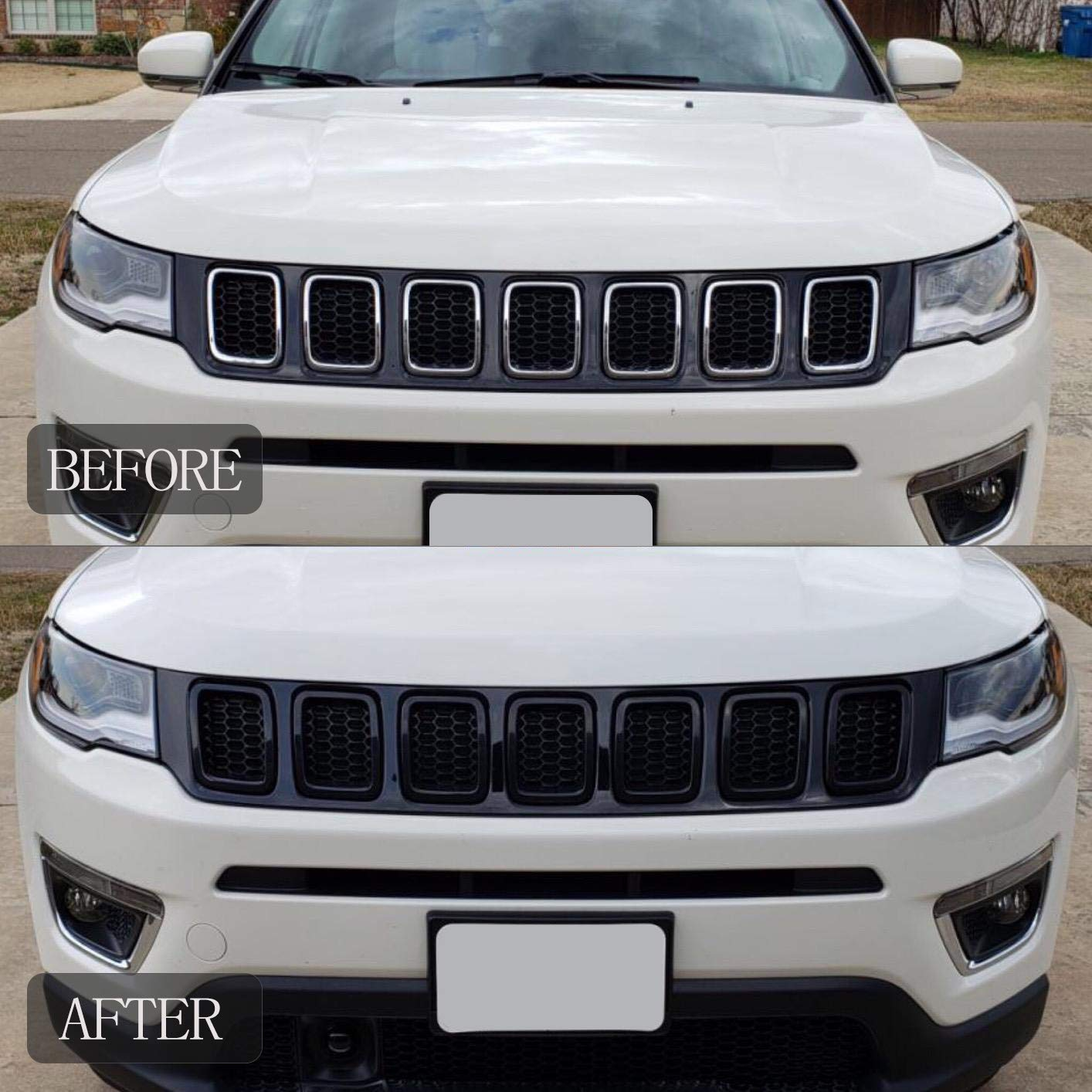 Front Grille Grill Insert Cover Frame Trims for Jeep Compass 2017-2019 Black