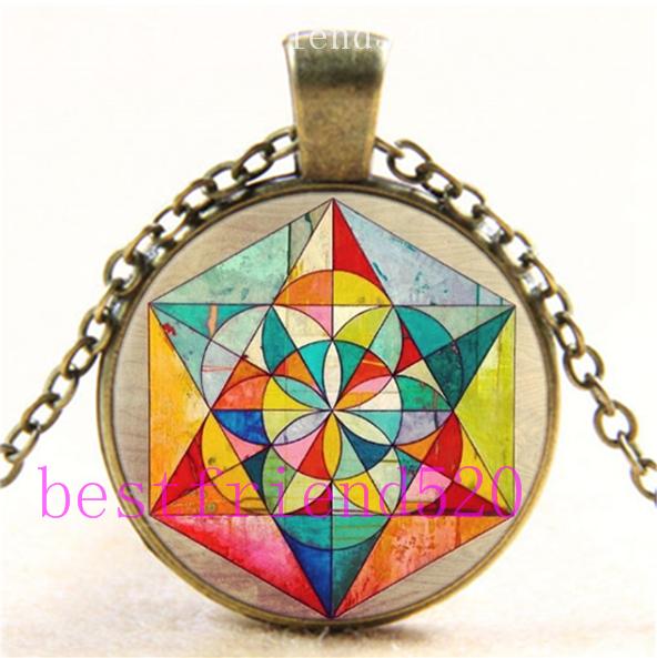 Vintage cabochon verre collier bronze Charme Chaîne Pendentifs : Sacred Geometry