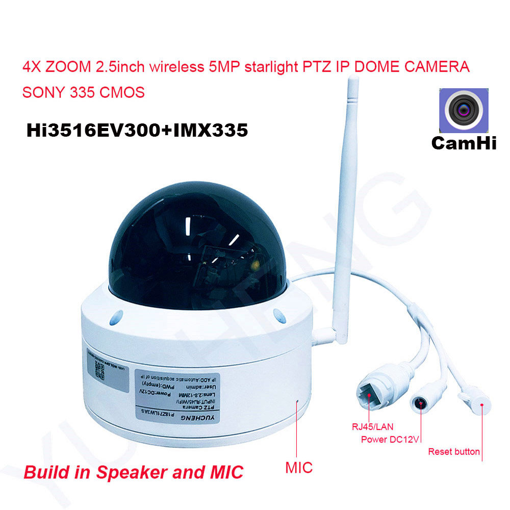 Details about CamHi 5MP Wireless 4X Optical Zoom Speed Dome PTZ IP Camera  SD Card MIC Speaker