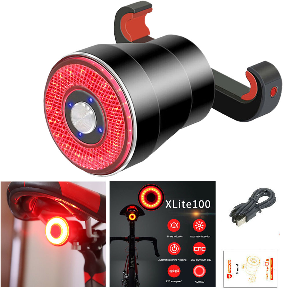 High Quality CNC Aluminum Alloy XLite 100 Bicycle LED USB Smart Brake Taillight