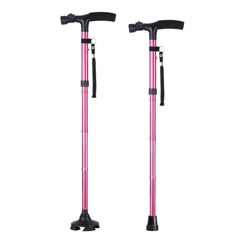Led Handle Adjustable Portable Folding Metal Crutch Walking Stick