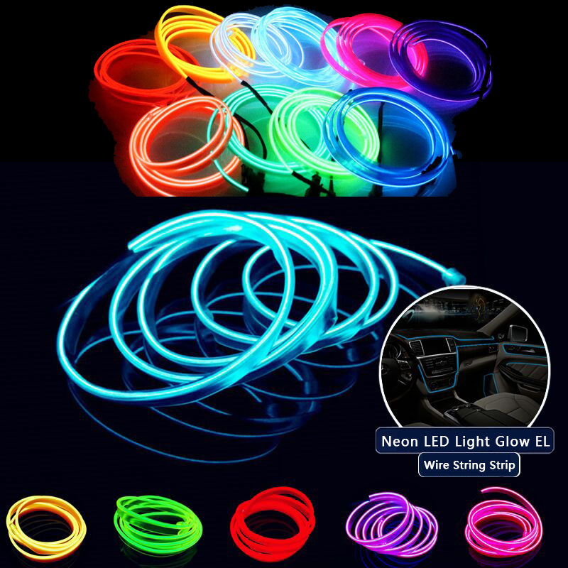 Flexible Neon LED Light Glow EL Wire String Strip Rope Tube Decor ...