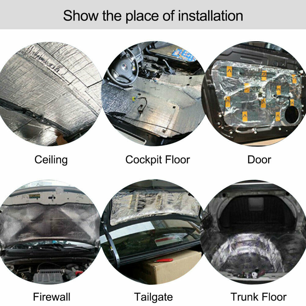 8mm Car Engine Heat Shield Mat Sound Noise Deadener Pad Heat-Resistant Shield US
