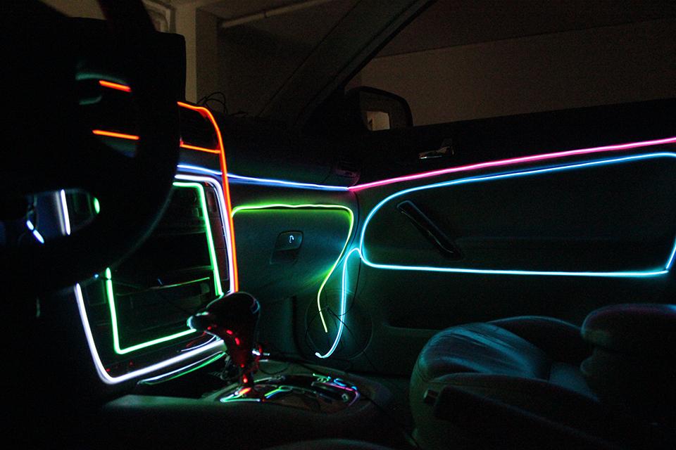 3M 12V LED Flexible Neon Light Glow EL Wire Rope Tube Car Decorative ...