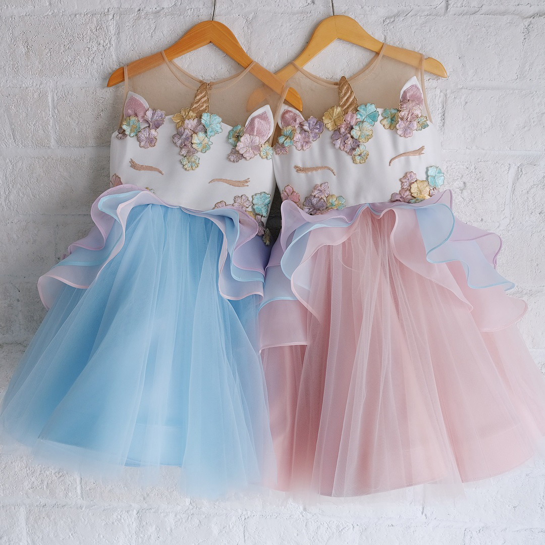 Kids Girls Dress Princess Unicorn Bridesmaid Party Birthday Tulle ...