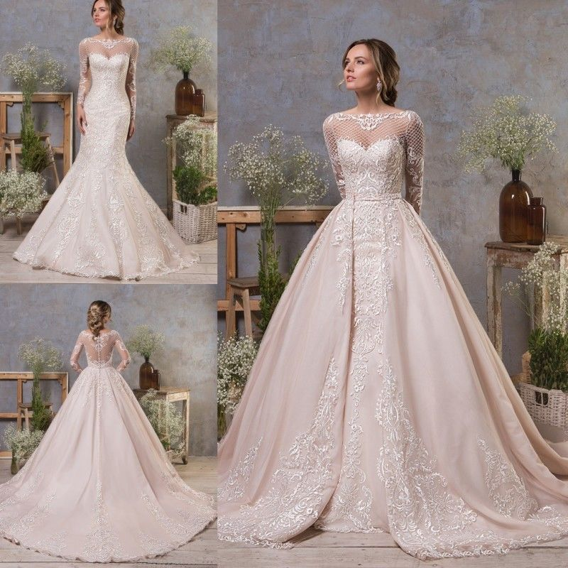 Wedding Dresses Detachable Train Long Sleeves Mermaid Bridal Ball
