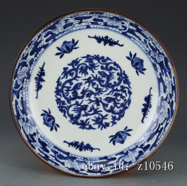 "4/"" Chinese antique porcelain Qing Tongzhi Blue and white Fukushou Small plate"