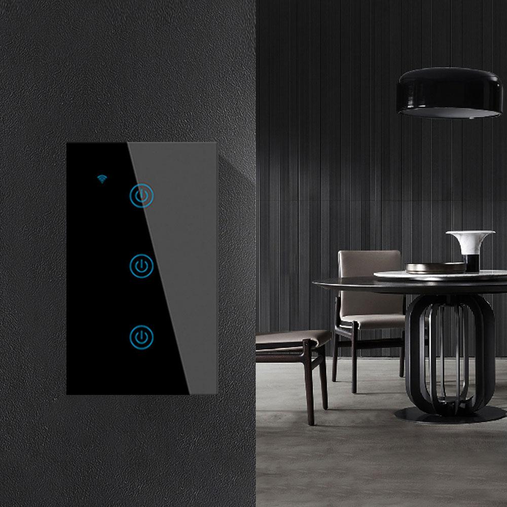 Black Smart Home WiFi Light Switch Glass Touch Panel For Alexa Google-1/2/3 Gang