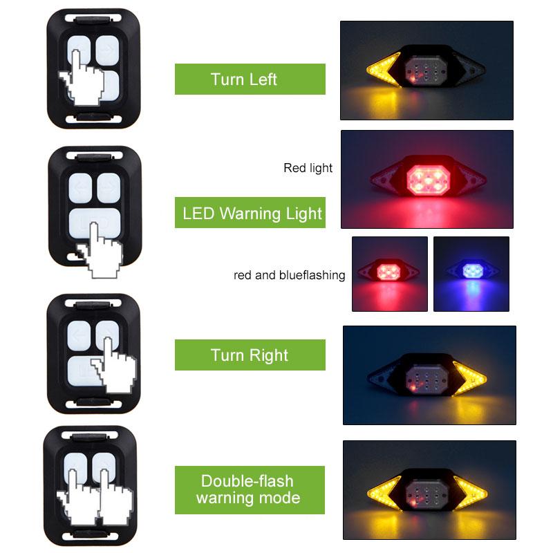 Bike Smart Turn Signal Rear Light Remote Direction Indicator LED Steer Tail Lamp