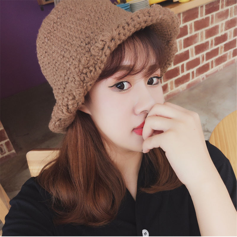 Details About Women S Curling Brim Knit Hat Lady Fashion Hat Girls Winter Crochet Hat One Size