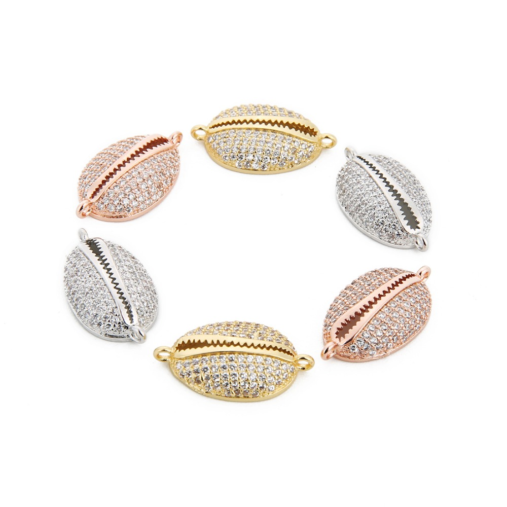 2pcs 12*22mm Micro Pave Shell CZ Crystal Beads Charms Pendant Making Jewelry