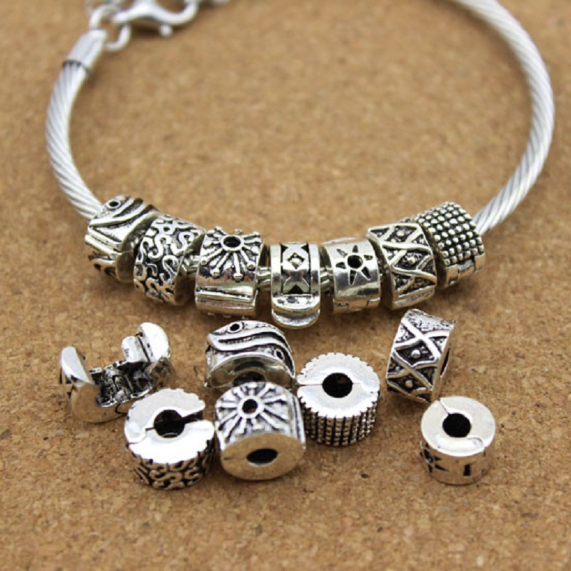 Silver Tone Russian Doll Spacer Large Hole Euro Charm Slider Bead fits Bracelets