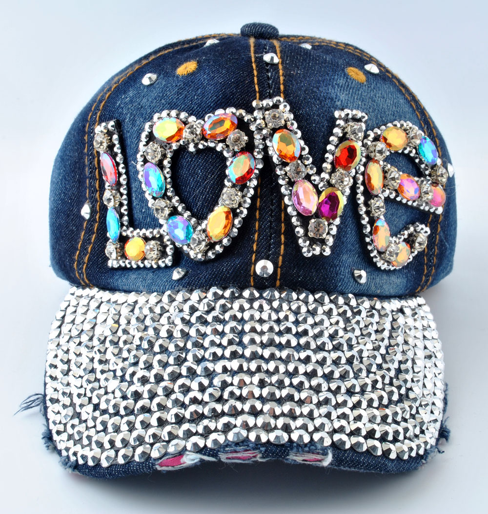 12ca745e99f Chic women rhinestone love stud blue denim hats sparkly bling baseball caps  new jpg 1000x1052 Bling