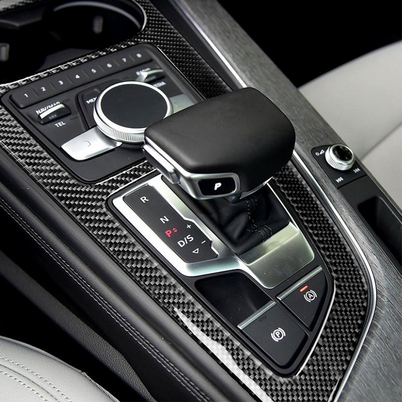 Interior Carbon Fiber Frame Trim Cover Cap Case Sticker Styling for Audi A4 B9 8W 2016-2021 Central Control Knob Sticker