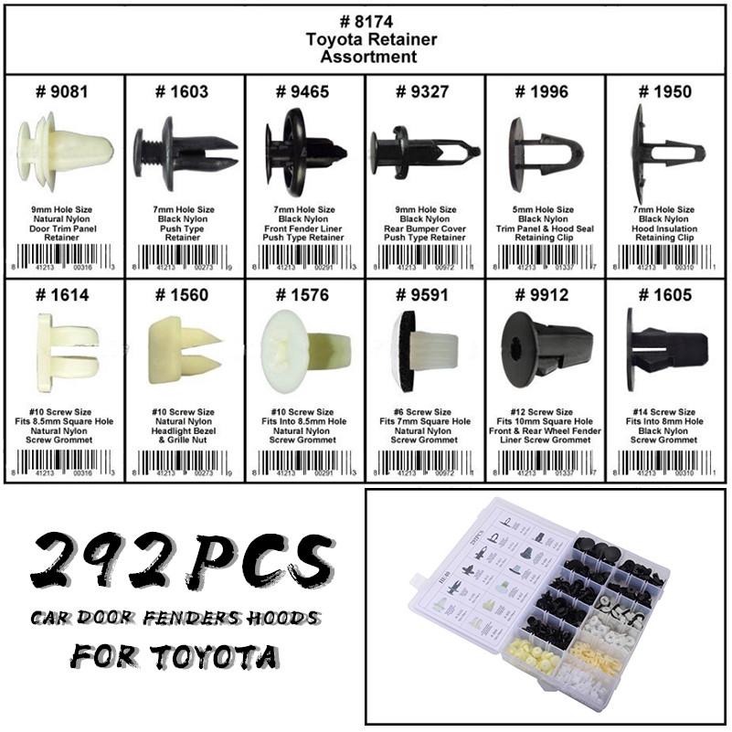 292pc Car Interior Door Fenders Hoods Push Pin Retainer Rivet Trim Clip Fastener