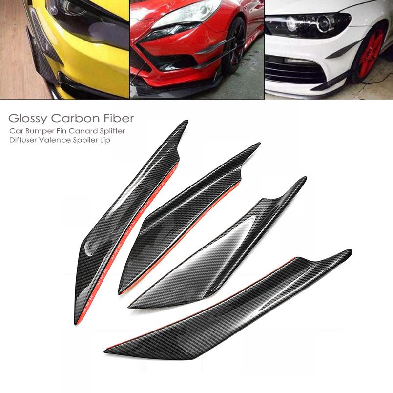 Glossy Genuine Carbon Fiber Front Bumper Canards Fins Spoilers for Toyota Tesla