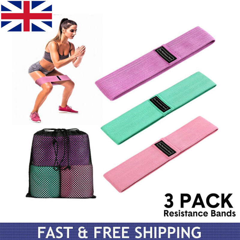 3X Elastic Legs Exercise Resistance Bands Fabric HIP CIRCLE Glute Loop Gym
