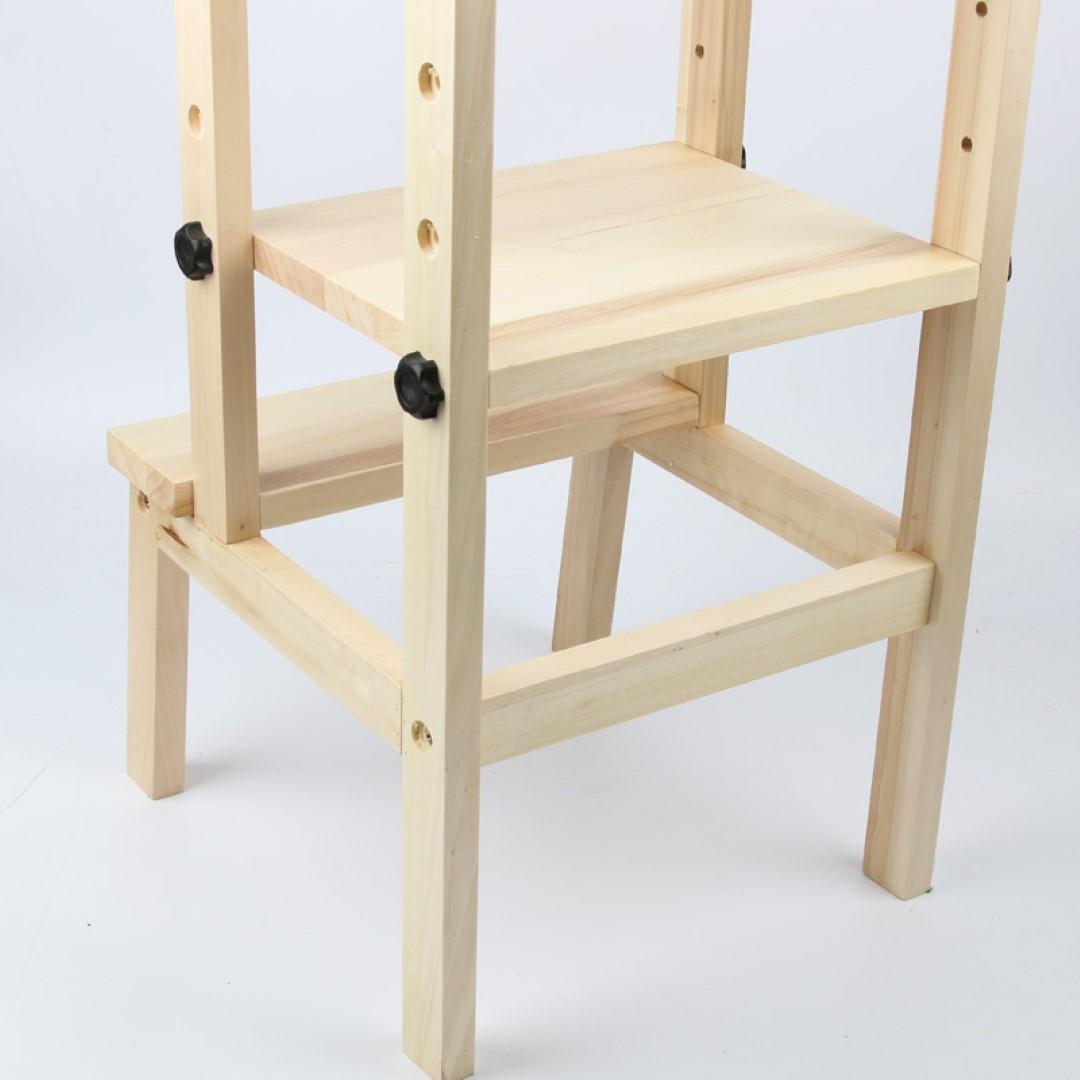 New Kids Step up Kitchen Helper Wooden Step Stool High chair ...