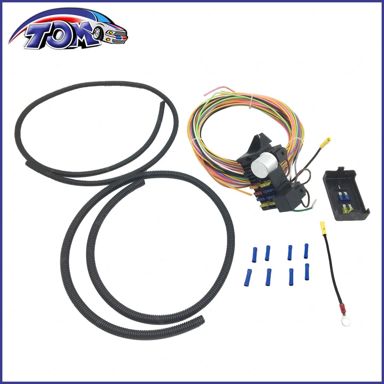 10 CIRCUIT BASIC WIRE HARNESS FUSE BOX STREET HOT RAT ROD WIRING CAR TRUCK  12V