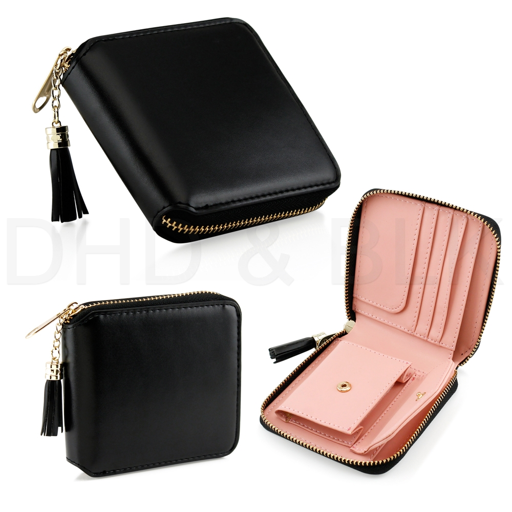 Womens Leather Small Mini Wallet Card Holder Zip Coin Purse Clutch ...