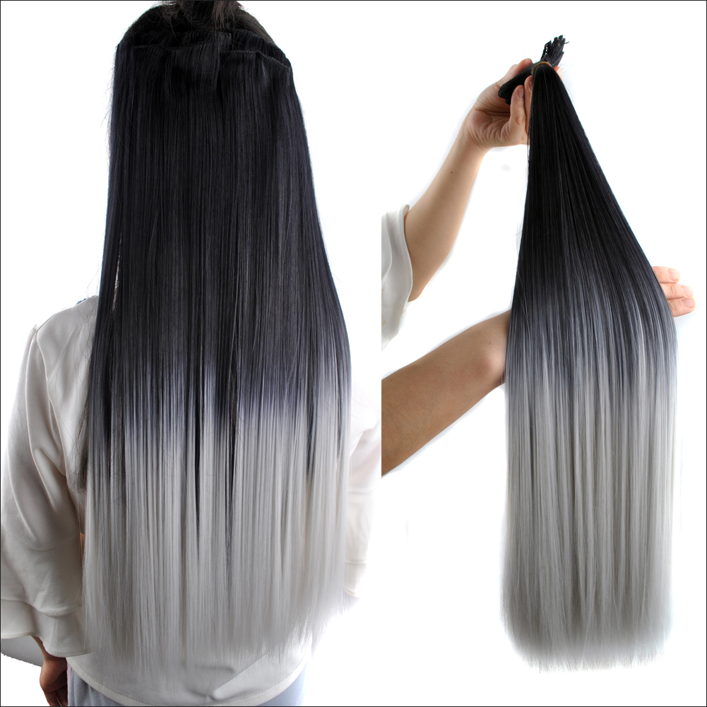 23 140g 7pcs black gray ombre full head hair clip in hair 23 140g 7pcs black gray ombre full head hair clip in hair extensions hairpiece pmusecretfo Images