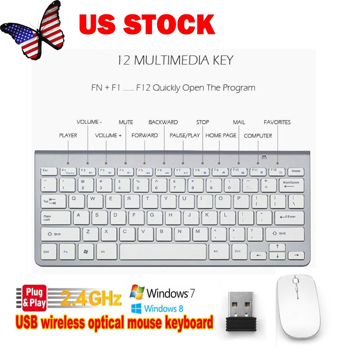 Mini Wireless Keyboard Mouse Combo Set USB 2.4Ghz for Computer Desktop