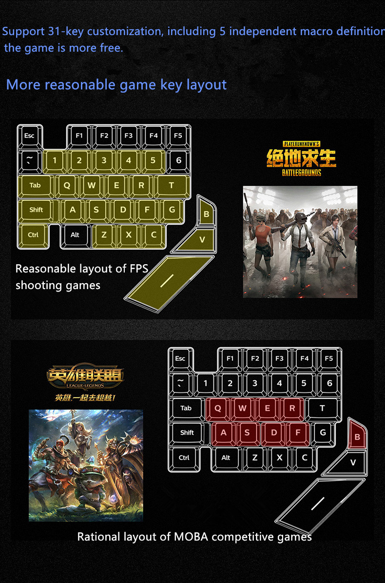 Game Keypad One-handed Keyboard Left Hand Game Artifact For