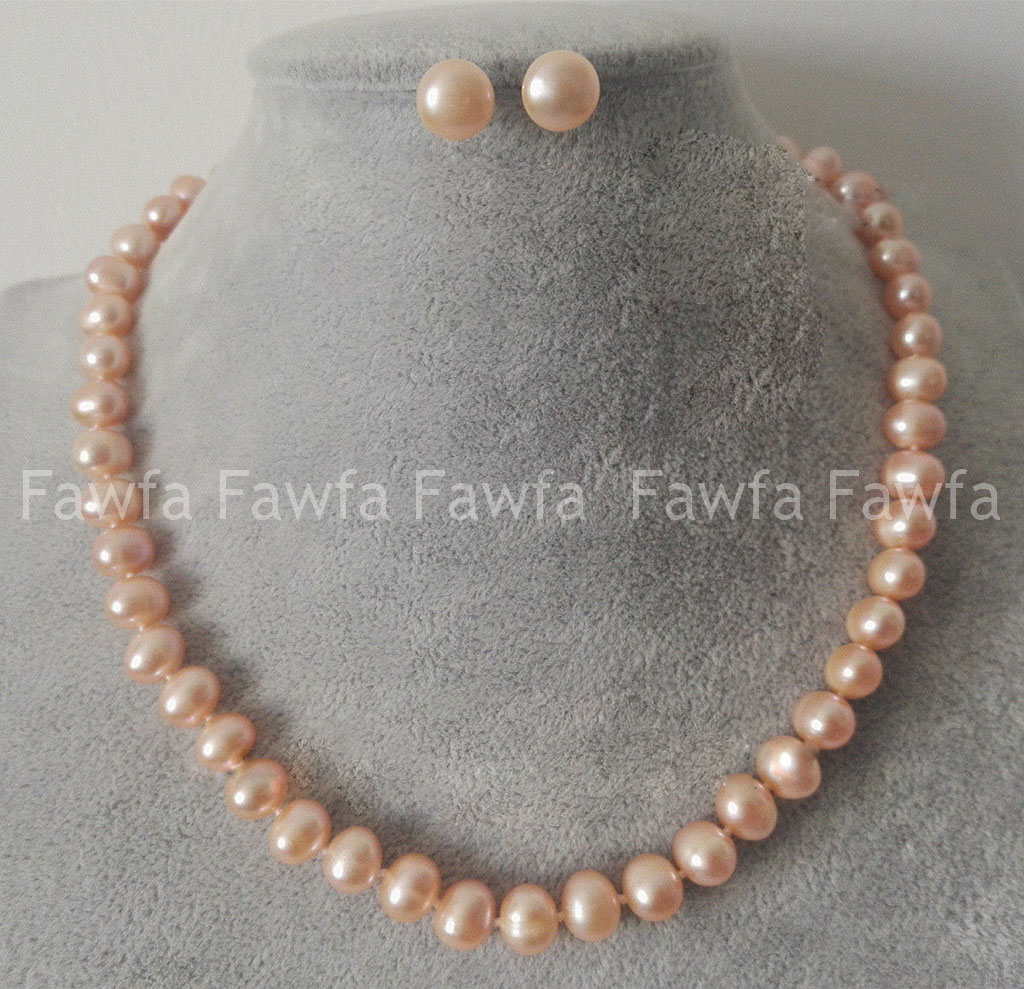 New 7-8MM Pink Genuine Natural Akoya Cultured Pearl Necklace 18/'/' Earring Set