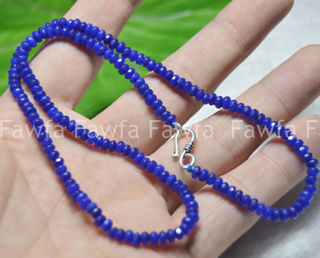 Lot 2x4mm Sapphire Faceted Roundel Gems Beads Necklace Silver Clasp AAA