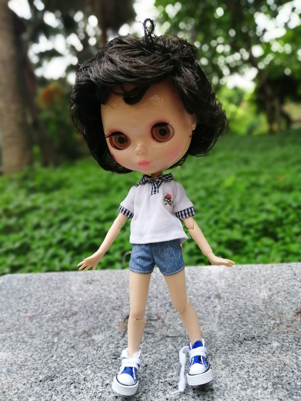 Blythe Nude Doll from Factory Jointed Boy Body Dark Brown Hair Gentleman Doll