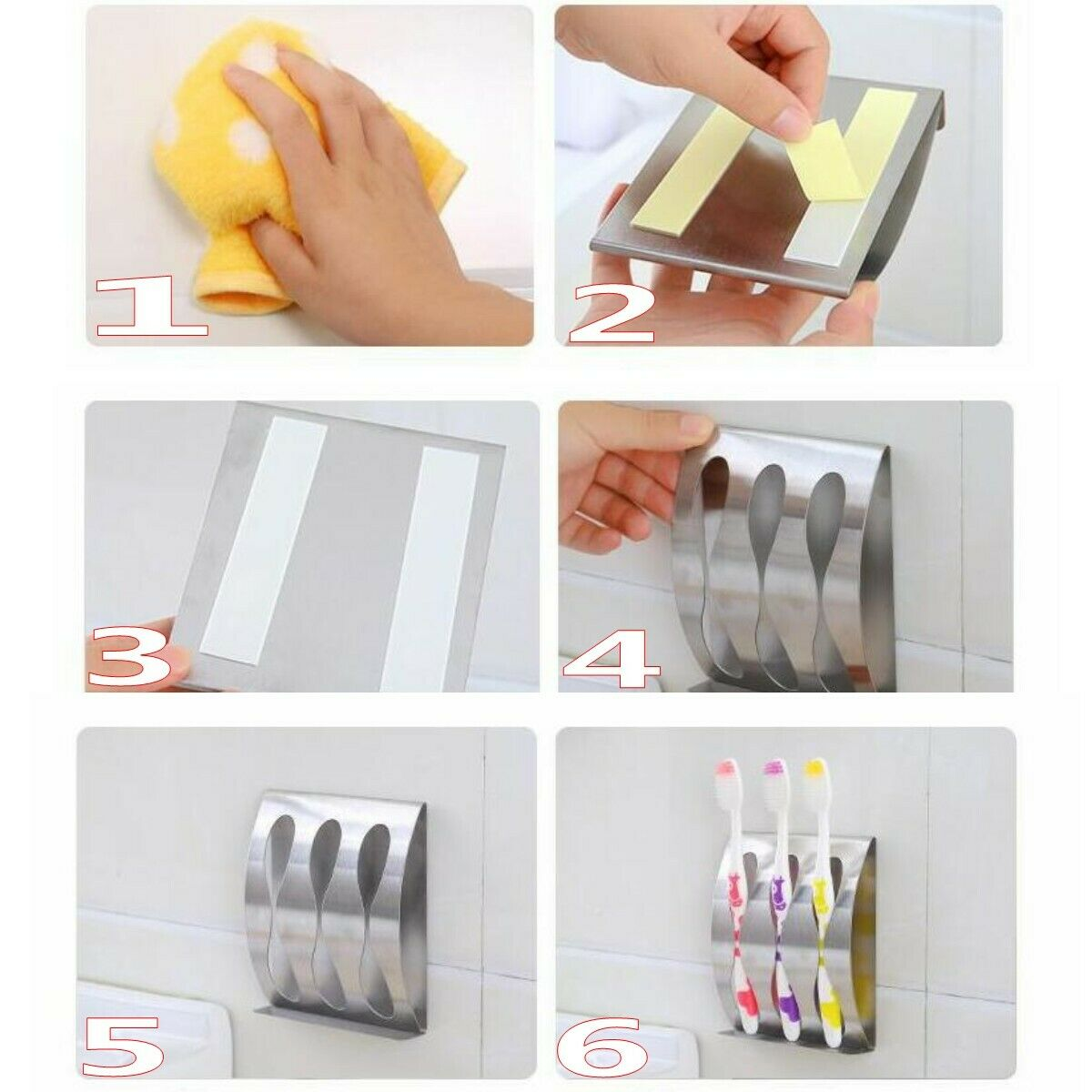 Wall Mount Stainless Steel Toothpaste Dispenser 2//3Position Toothbrush Holder HO