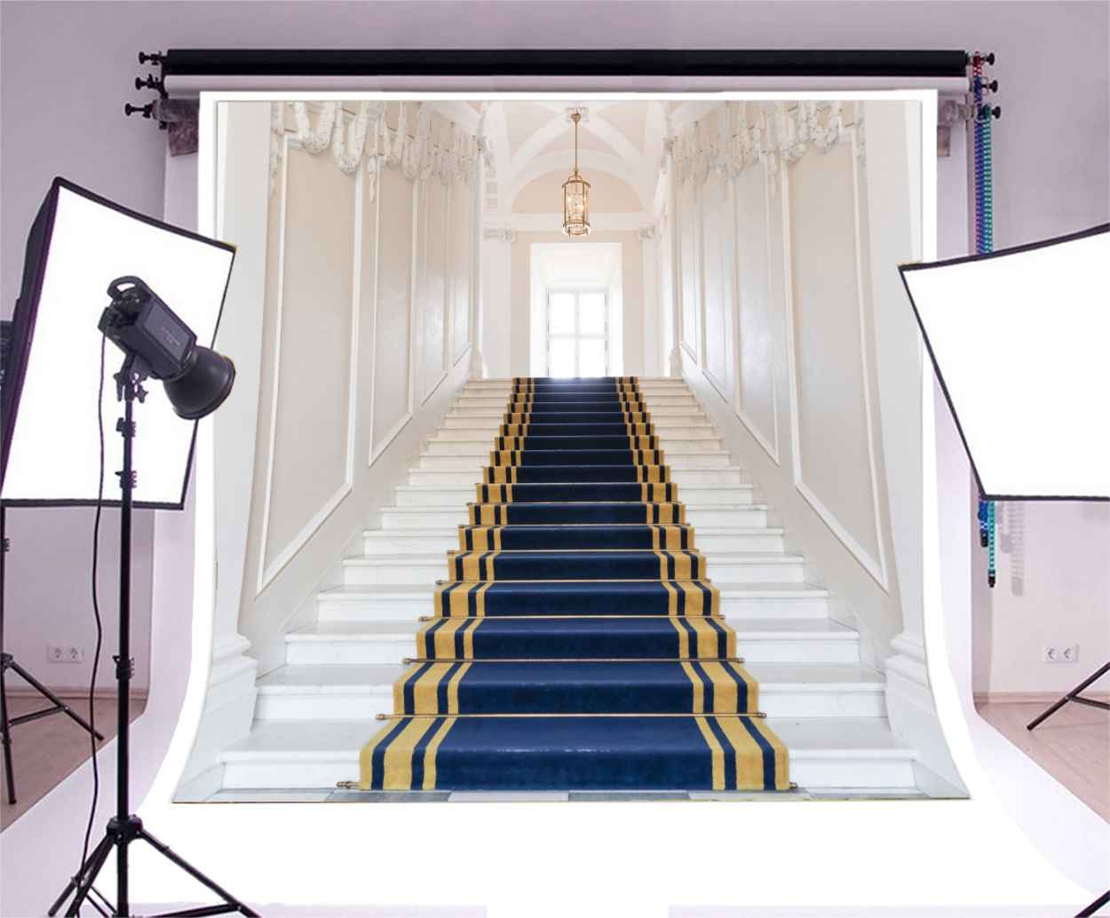 8x8ft Blue White Stairs Indoor Backdrop Studio Photography