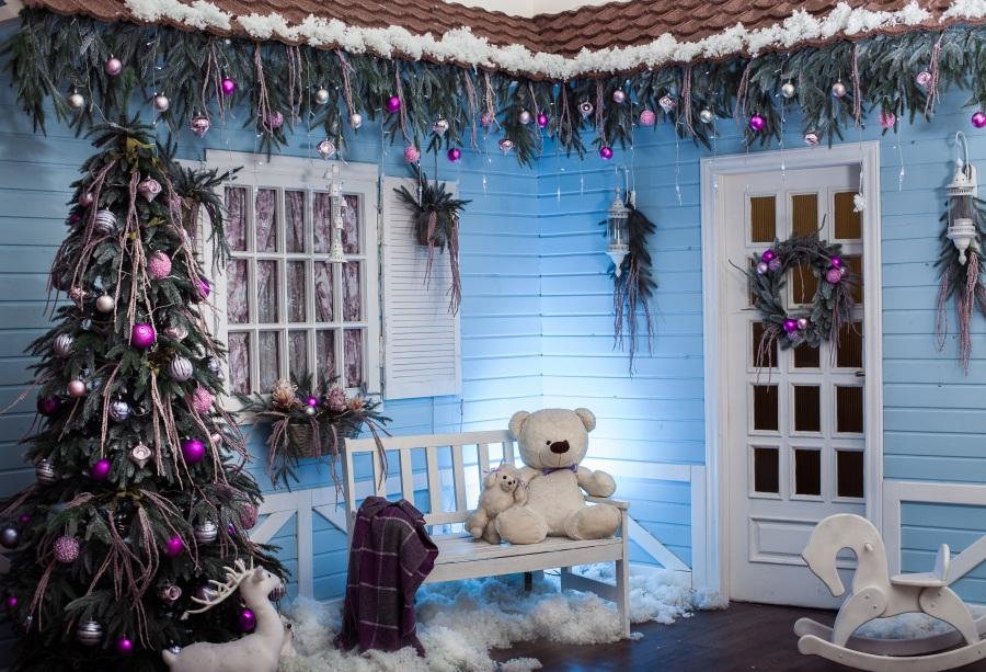 7x5 merry christmas backdrop blue house photo background photography studio prop ebay ebay