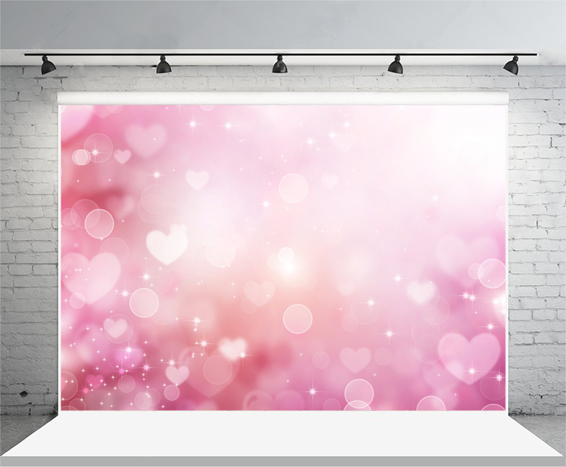 10x8ft Vinyl Backdrop Photography Background Happy Valentines Day Pink Hearts on Purple Bokeh Background Romantic Scenes Lovers Girls Portraits Studio Props