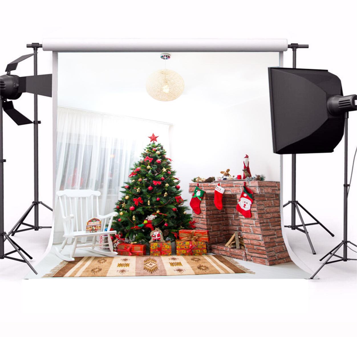 Indoor Xmas Tree Rustic Brick Fireplace Backdrop Vinyl 8x8ft Baby ...