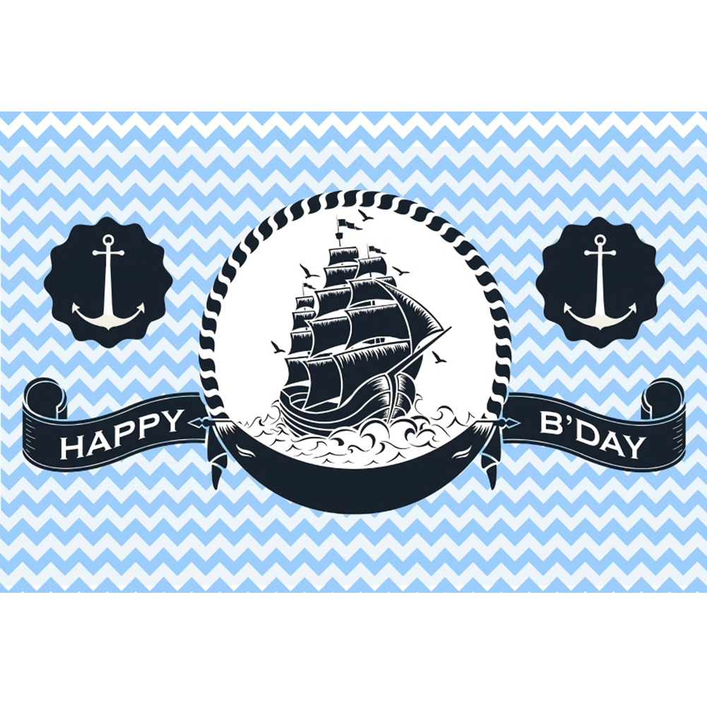 8x8FT Vinyl Wall Photography Backdrop,Nautical,Sailing Theme Ship Boat Photo Backdrop Baby Newborn Photo Studio Props