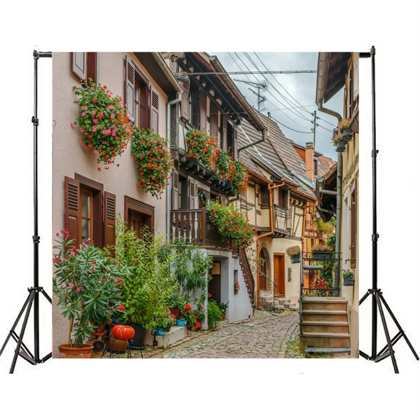 DaShan 14x10ft Vintage Town Alley Backdrop Ancient Building Outdoor Wedding Photography Background Birthday Stone House Spring Flowers Street Travel Holiday Decor Kid Adult Portrait Photo Prop