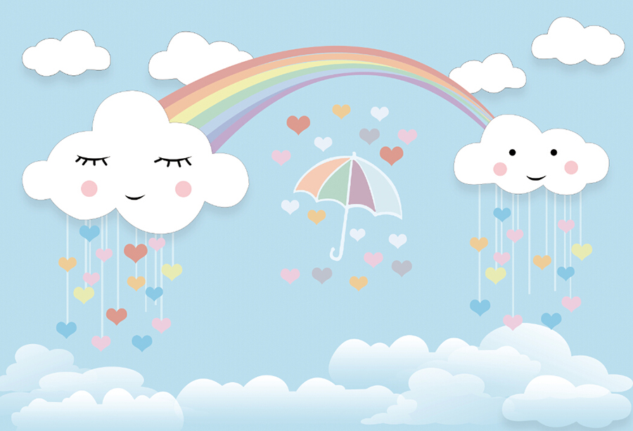 Baby 5x3ft Cute Clouds Rainbow Photography Backgrounds Cartoon Photo Backdrops Ebay