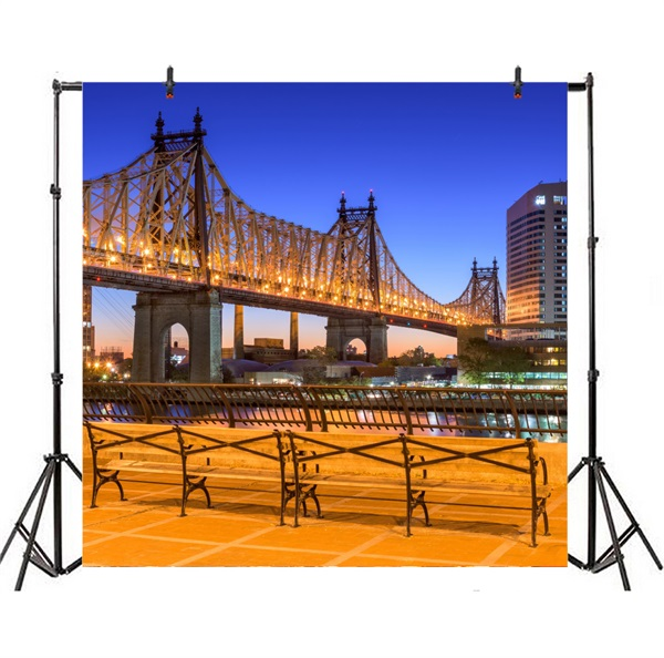 7x10 FT Vinyl Photography Background Backdrops,Queensboro Bridge Spanning The East River in New York City Serene Scenery Background for Graduation Prom Dance Decor Photo Booth Studio Prop Banner